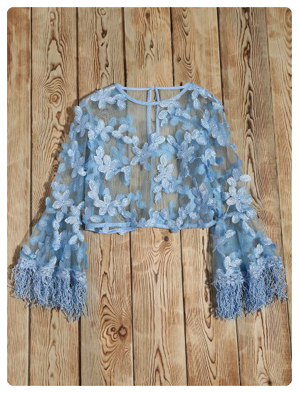 Flare Sleeve Tassel Sheer Lace Top Light Blue Sheer Lace Top Tops Cute Blouses