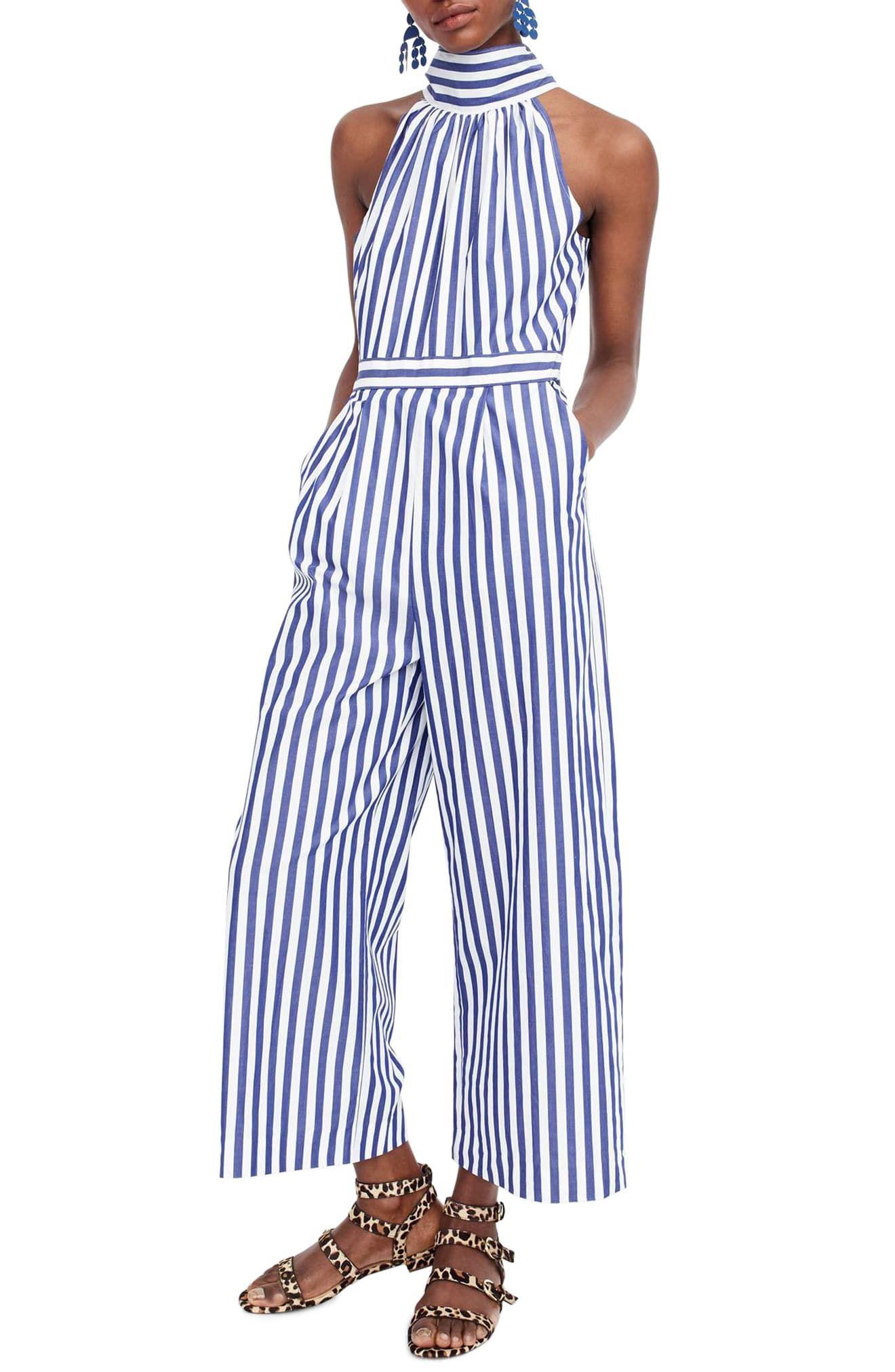 8e587d96a3231 Women's J.crew Stripe Halter Wide Leg Jumpsuit, Size 16 (similar to 14W) -  Blue