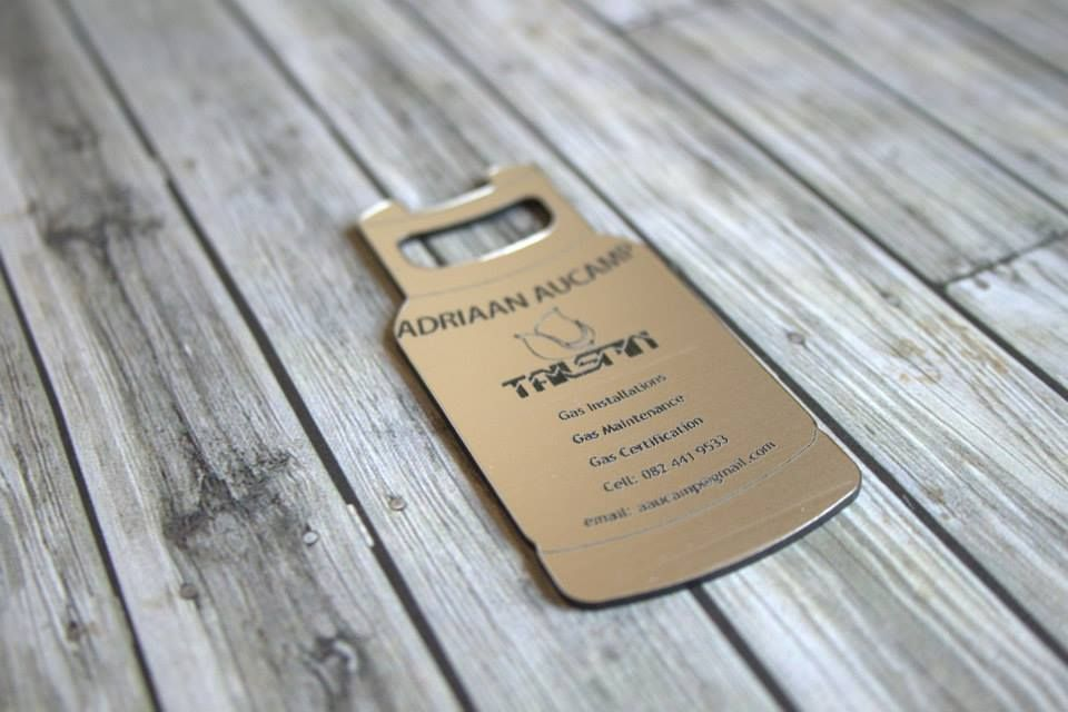 Got gas? Gas cylinder shaped business card cut out of a laser able ...
