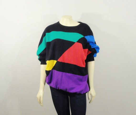 78923f1f38dd SALE Vintage Sweater 80s 90s Oversized Colorblock Sweatshirt Rainbow Color  Block Modern S M L Xl
