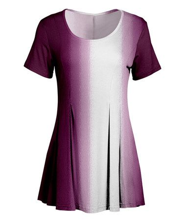 Love this Violet & White Fade Fit & Flare Tunic - Plus Too on #zulily! #zulilyfinds