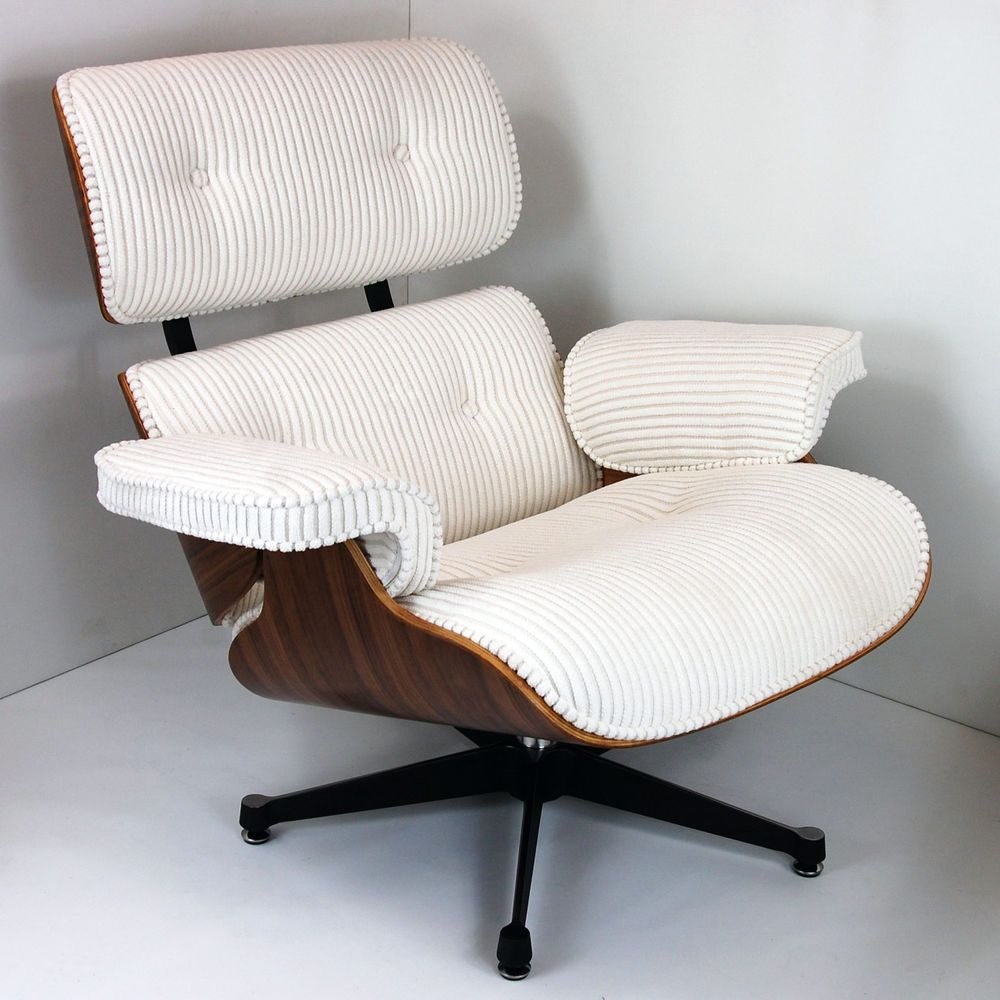 Designer Walnut Corduroy Lounge Chair And Ottoman Inspired By