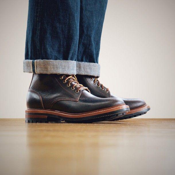 Oak Street Bootmakers   Brown Waxed Flesh Commando Sole Trench Boot - Footwear