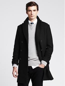 Black Wool Topcoat | Banana Republic