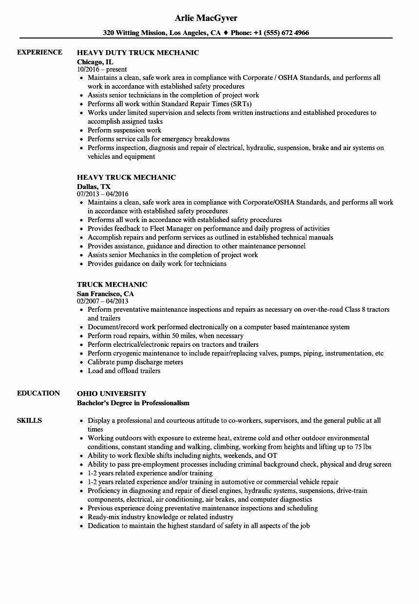 23 Mechanic Job Description Resume in 2020 (With images
