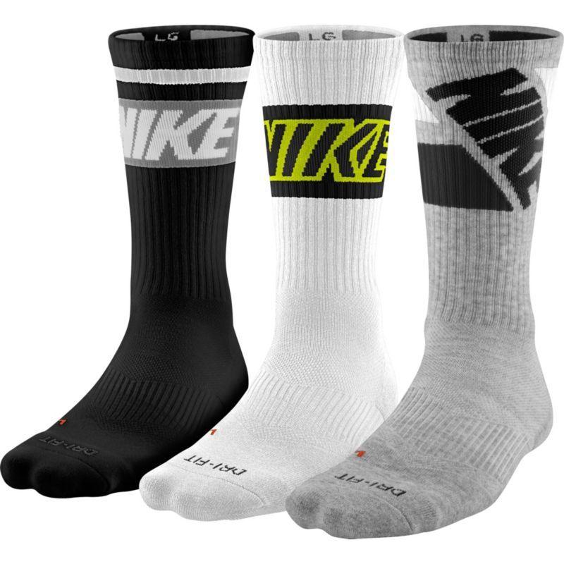 Nike drifit fly rise crew socks 3 pack size medium