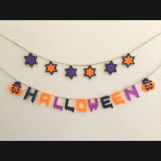 Halloween garland perler beads by Akkokko