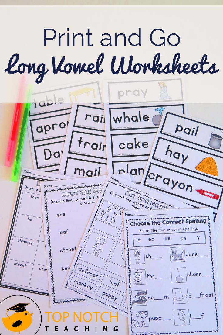 Long Vowel Worksheets Bundle Top Notch Teaching Long Vowel Worksheets Vowel Worksheets Long Vowels [ 1102 x 735 Pixel ]