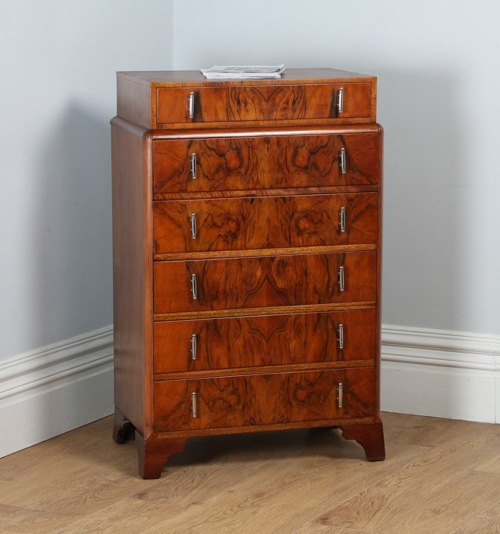 Art Deco Figured Walnut Bedroom Chest Of Drawers  Tallboy Interesting Bedroom Chest Inspiration Design