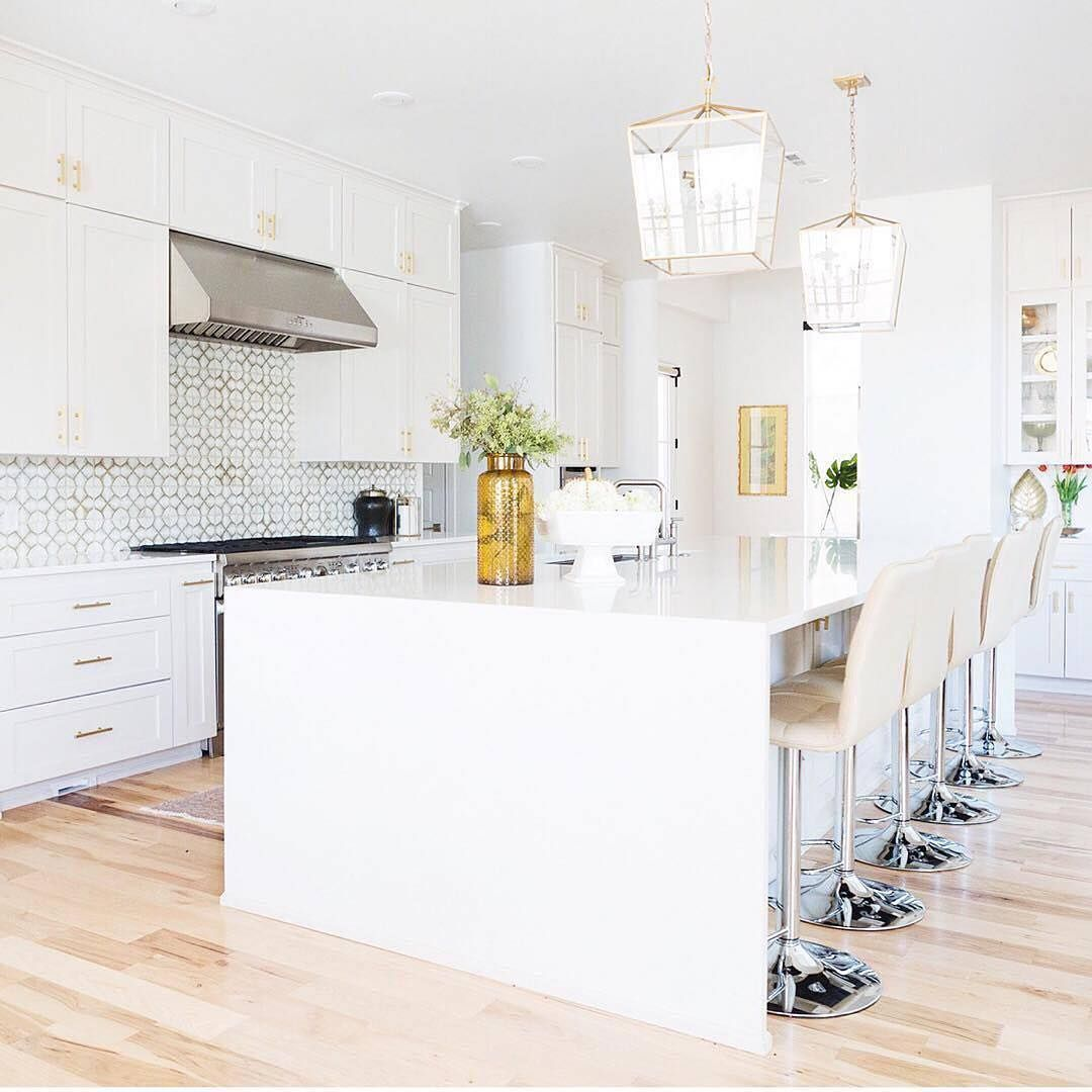 white cupboards with gold handles. feature lights.   dream home ...