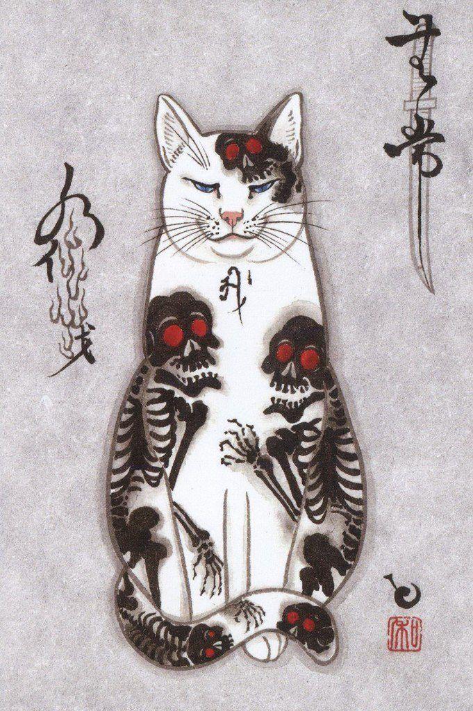 Kazuaki Horitomo Kitamura Contemporary Japanese American Cat Tattoo Cat Art Cat Painting