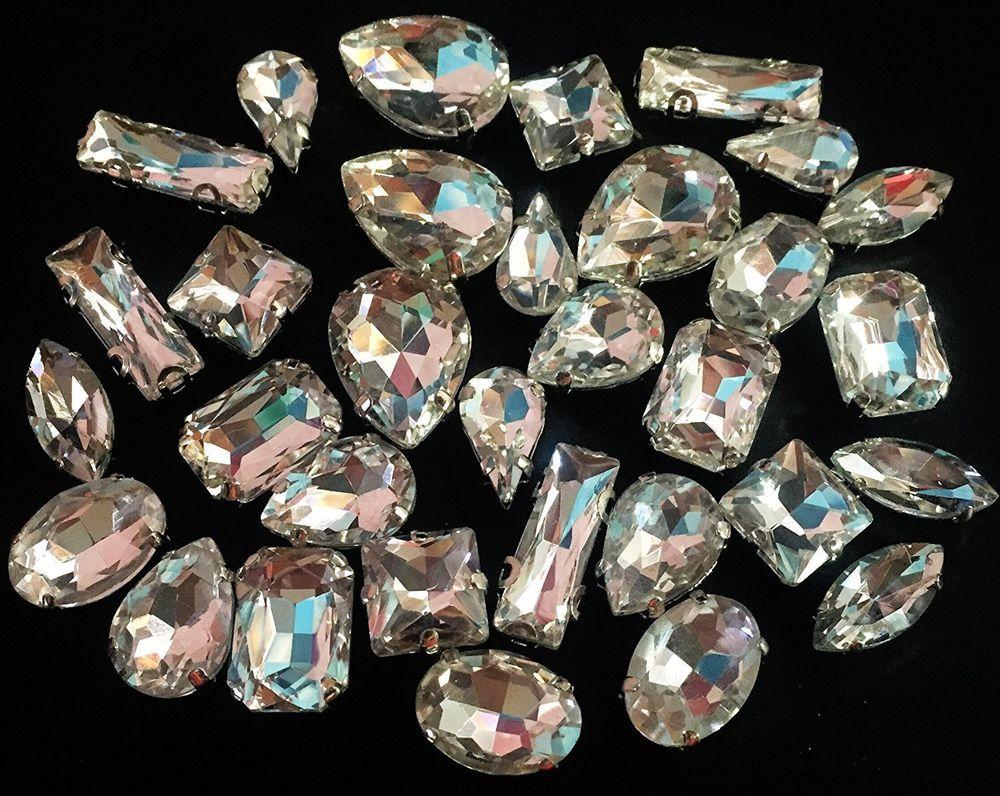 HONESH 32pcs Mix Shape Sew on Glass Crystal Diamante Rhinestone Craft d649c010825b
