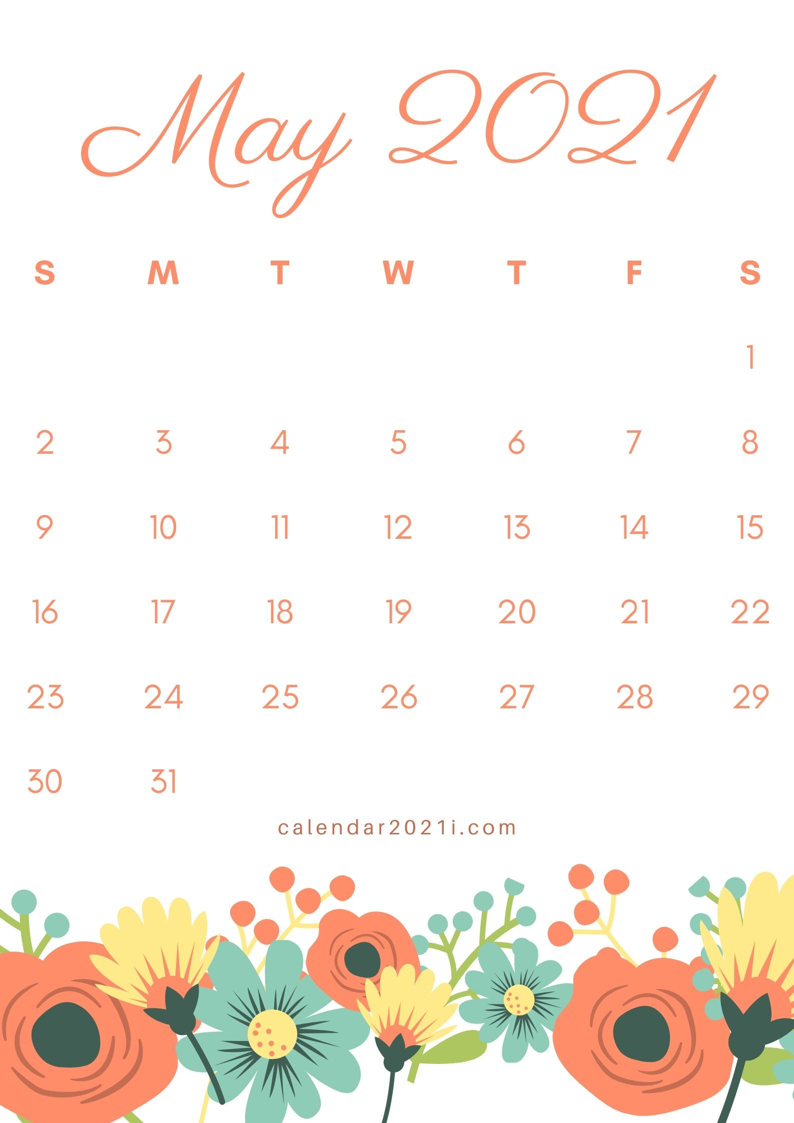May 2021 Floral Calendar Theme Printable With Amazing Flowers For Decoration Ideas In 2020 Calendar Printables Monthly Template Calendar Themes