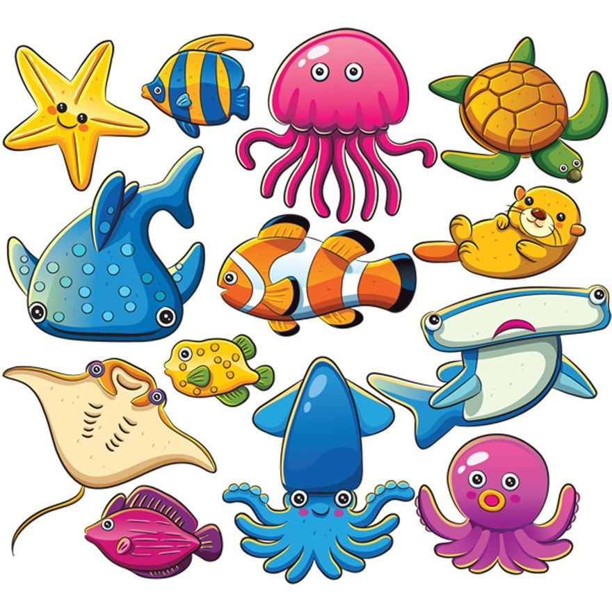 Vivid Marine Animals Sea Animals Drawings Cartoon Sea Animals Sea Animals