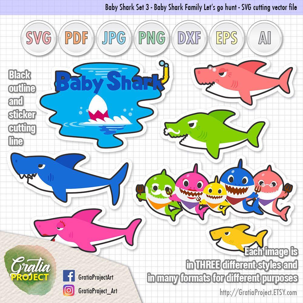 Gambar Baby Shark Pinkfong Clipart Set 2 Artworks Svg