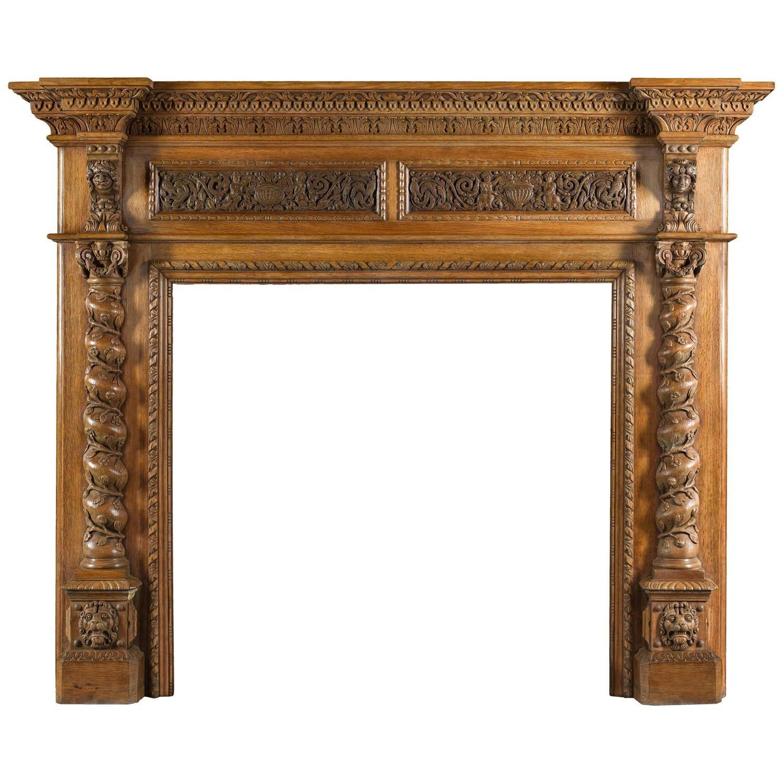 Antique Italian Renaissance Style Carved Oak Antique Fireplace Mantel Antique Fireplace Antique Fireplace Mantels Fireplace Mantels