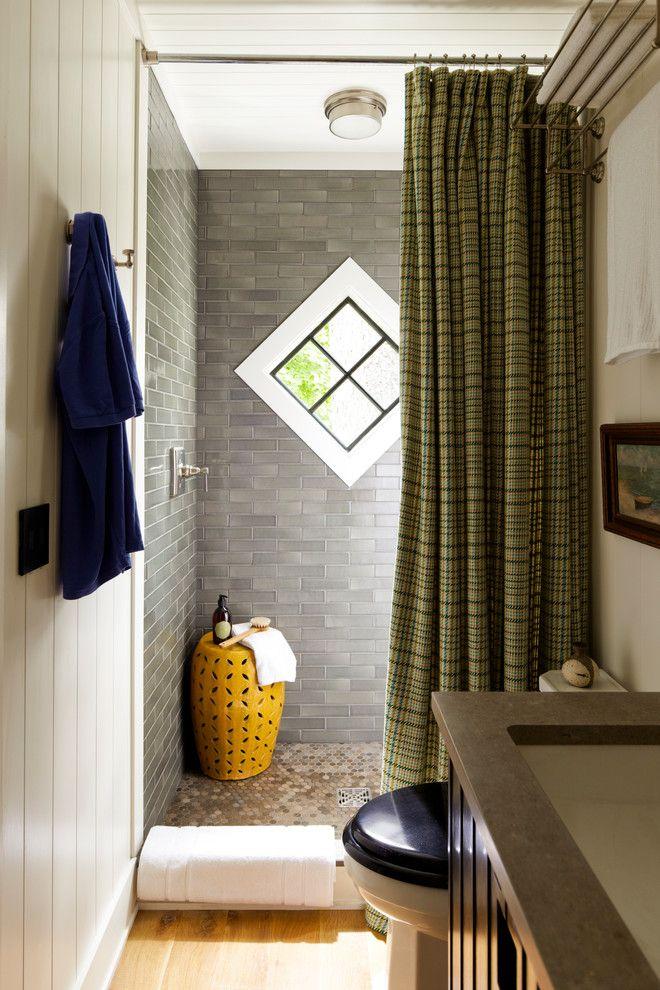 Chic Ceramic Garden Stool In Bathroom Beach Style With Tile Shower Floor Next To Tiled Shower Alongside Lake House Bathroom Shower Curtain Decor House Bathroom
