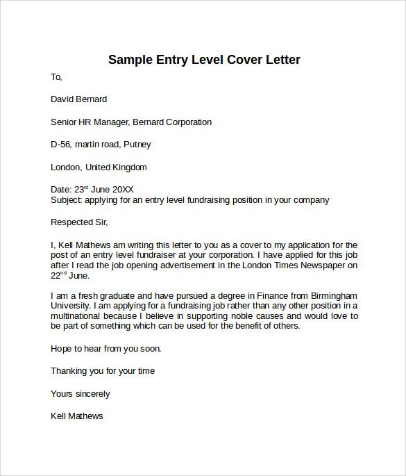 Entry Level Cover Letter Templates Free Samples Examples  Home