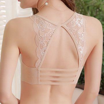 H Cup Front Closure Gather Ricamo Plus Size Reggiseno push up sottile  NewChic Mobile is part of Bra lingerie -