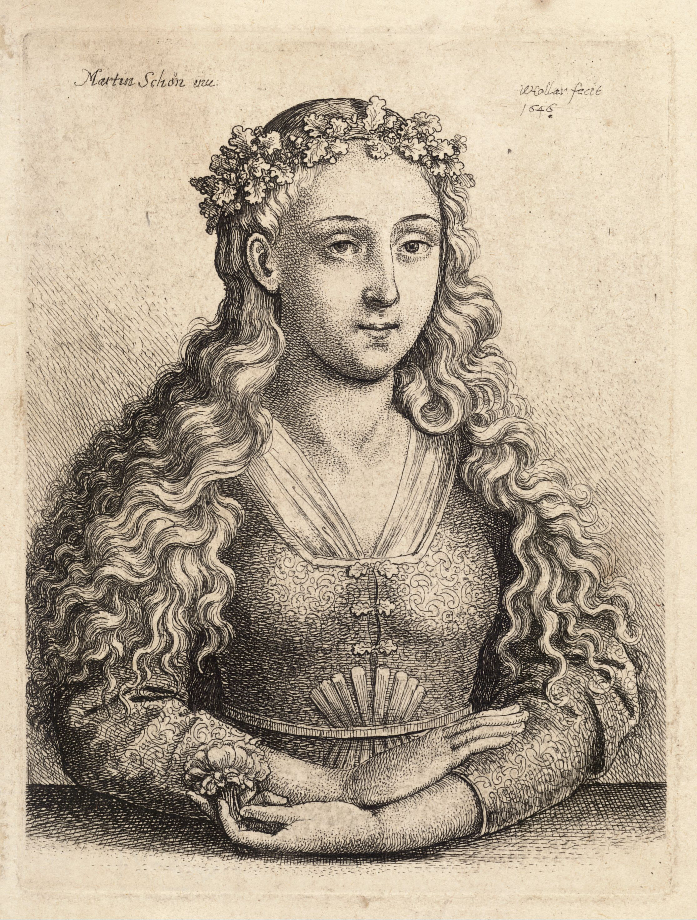 Woman with a wreath of oak leaves - Martin Schongauer
