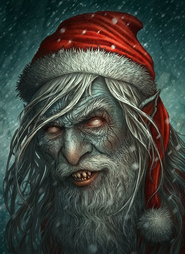 Zombie Monster Santa Claus Christmas Artworks Illustrations Christmas Horror Creepy Christmas Bad Santa
