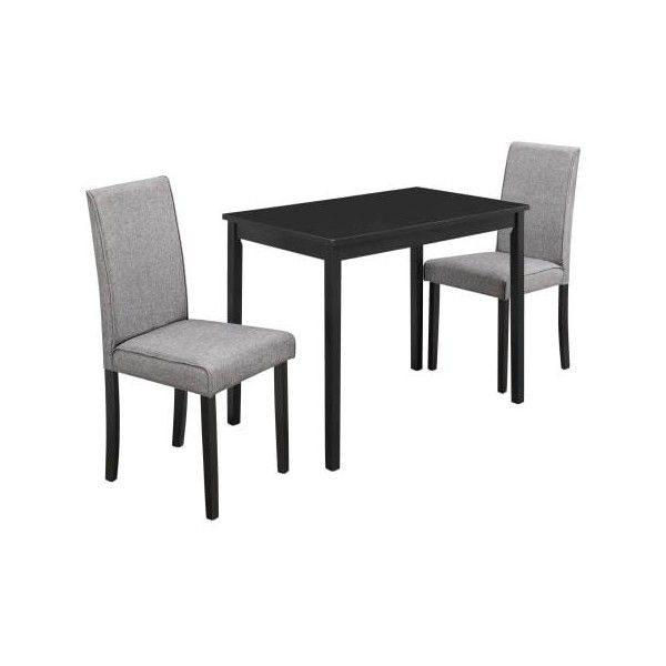 Monarch Specialties I 1016 Three Piece Wood Dining Table Set Black Prepossessing Three Piece Dining Room Set Design Inspiration