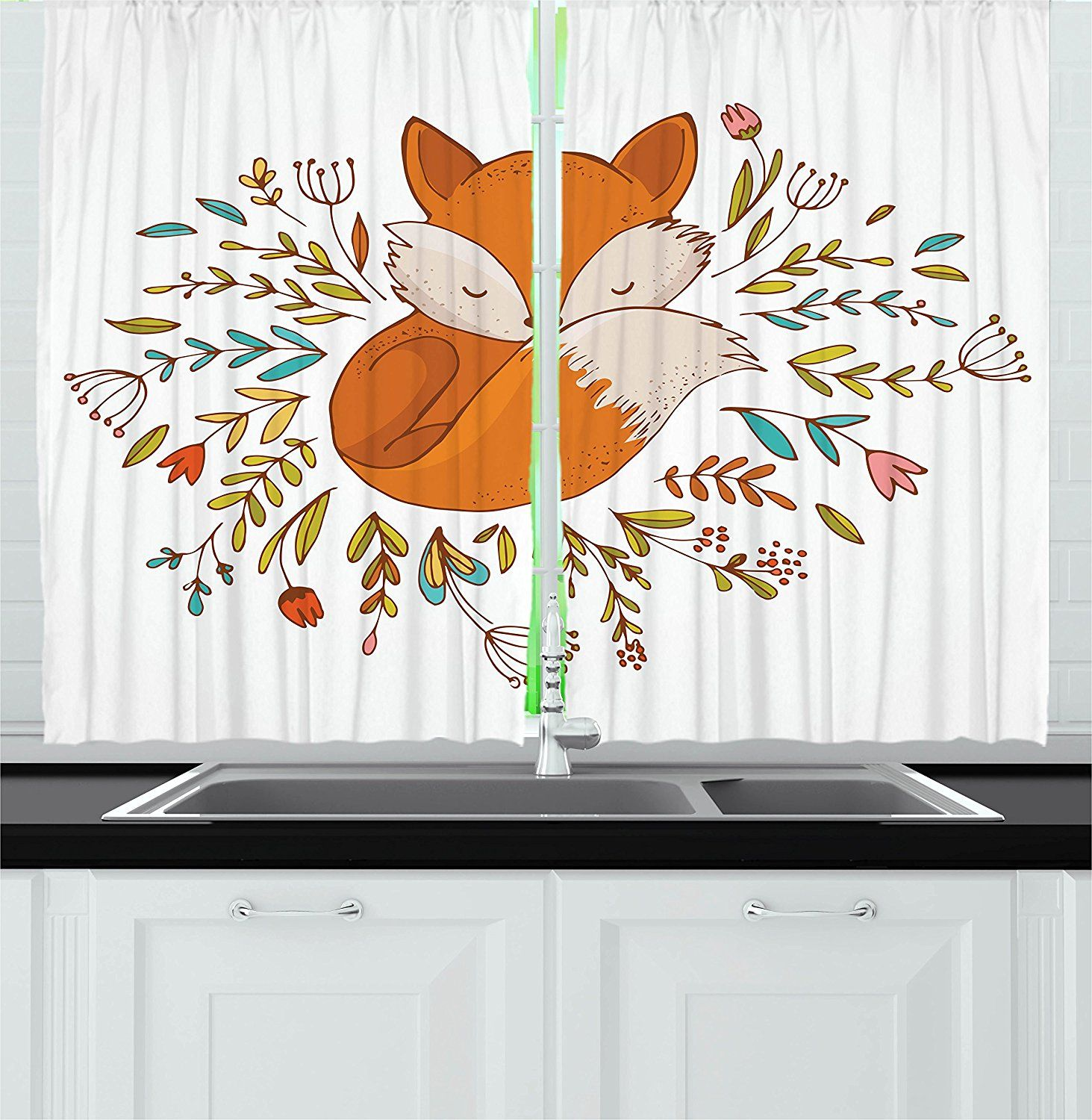 Cartoon kitchen curtains by ambesonne cute baby fox sleeping in a
