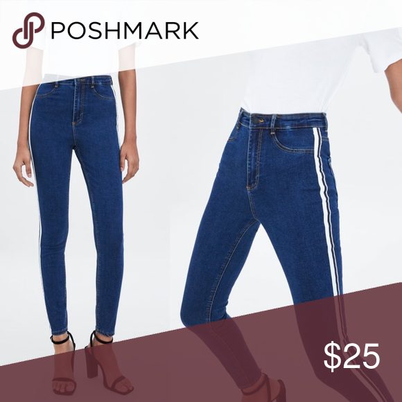 0c55907b Zara Hi-Rise/Shaper Jeans Jeggings w/ Side Stripes Zara Hi-Rise ...