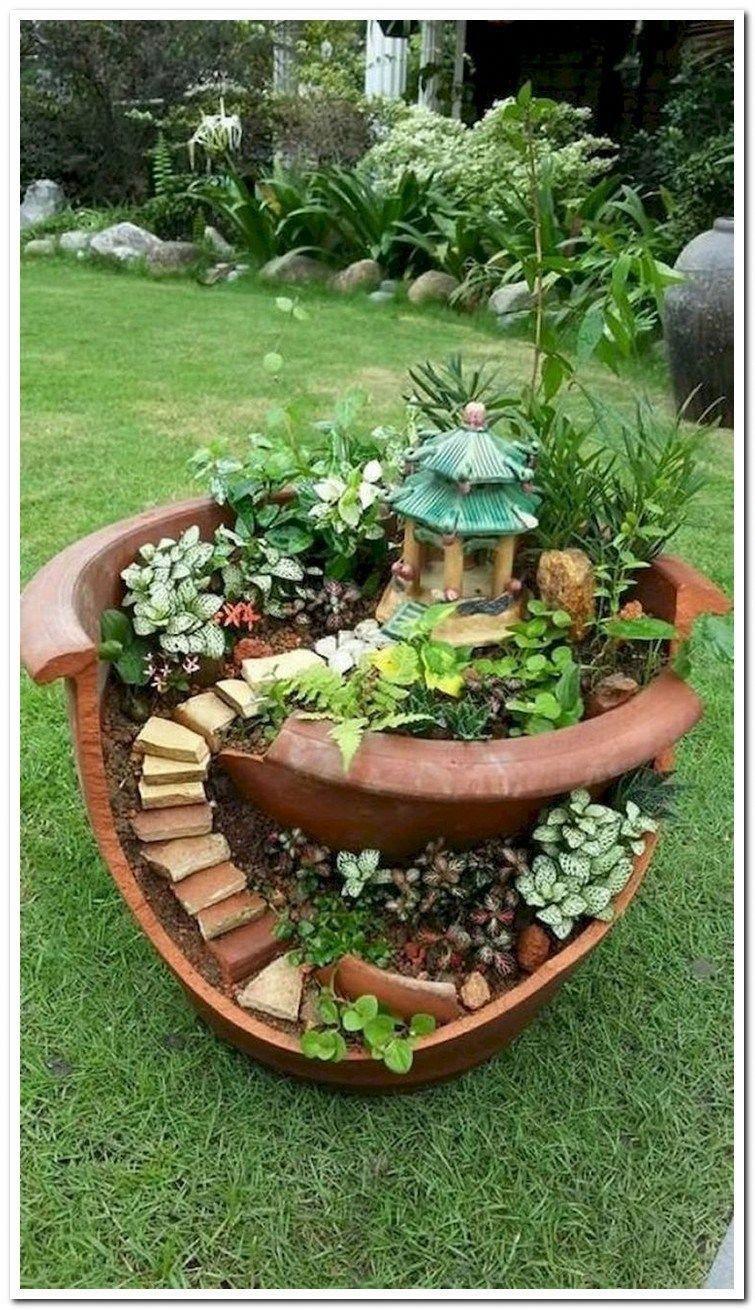 37 Beautiful Gnome Garden And Fairy Garden Design Ideas Fairygarden Fairygarde Beautiful Design Fa In 2020 Indoor Fairy Gardens Fairy Garden Pots Garden Art Diy