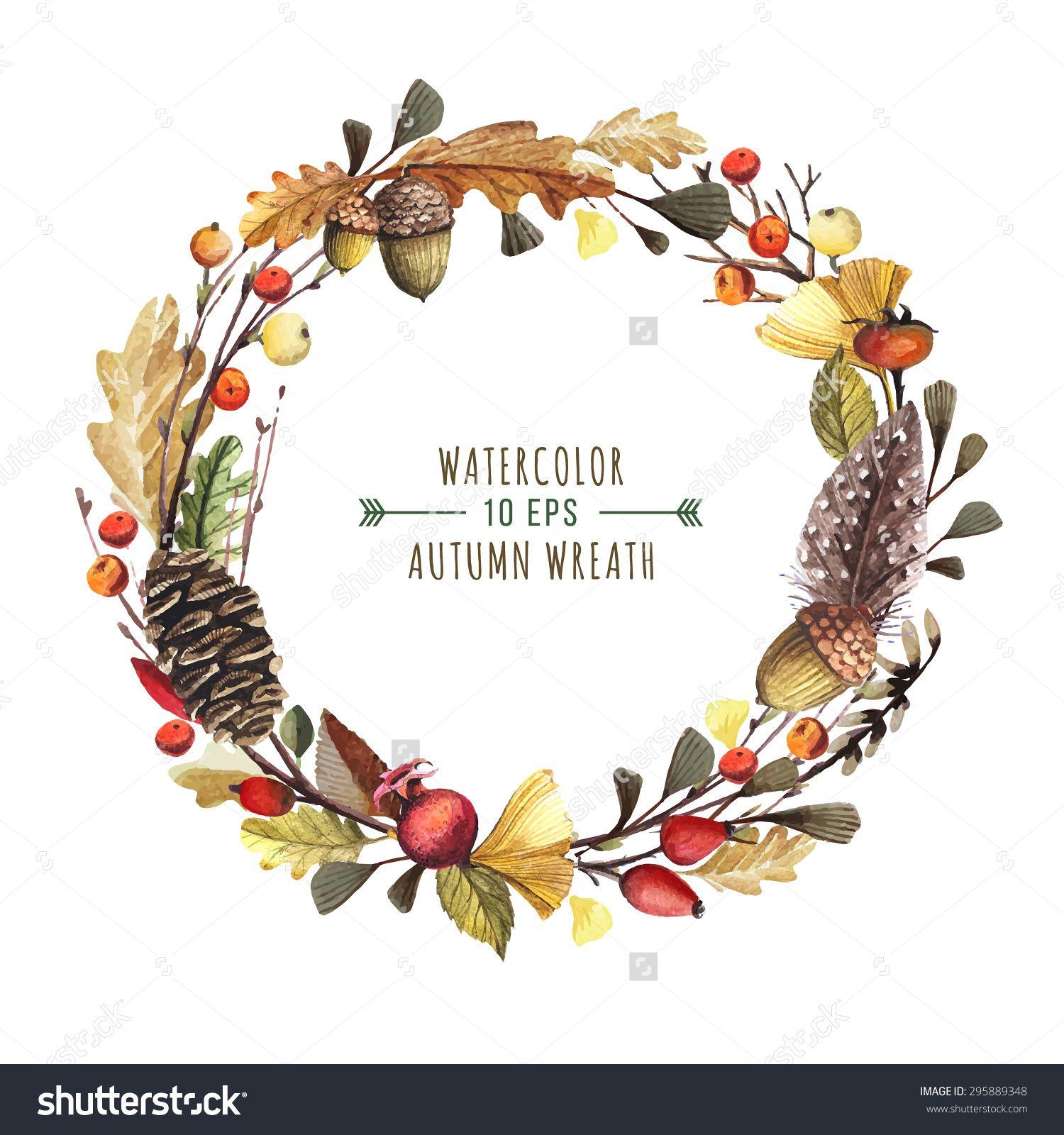 Woodland clipart Autumn Floral Wreath Autumn Flowers Watercolor fall Wreath Autumn Clipart Woodland Wreath