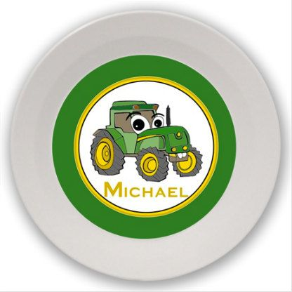 Tractor Bowl Children Kids Youth Boy Girl by LimeNCoconutDesigns, $22.00  Inspired by John Deere, this cute guy is ready to go take care of business out on the farm.  Made of Melamine and dishwasher safe, you can customize it with a name, initials, or a monogram if you choose.  A matching plate can be made to go with it.