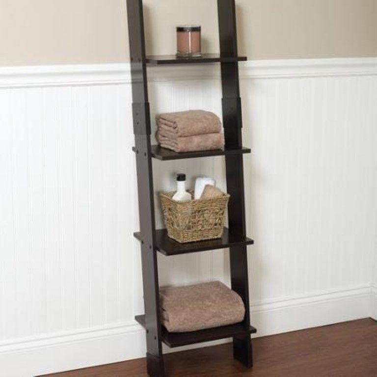 Bathroom Linen Storage Tower Storage Cabinet Closet Bath Wood Ladder  Display #Hawthorne