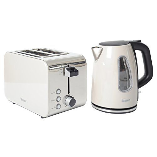 Metallic Cream . Kettle and 2 Slice Toaster Igenix IGPK09 Breakfast Set