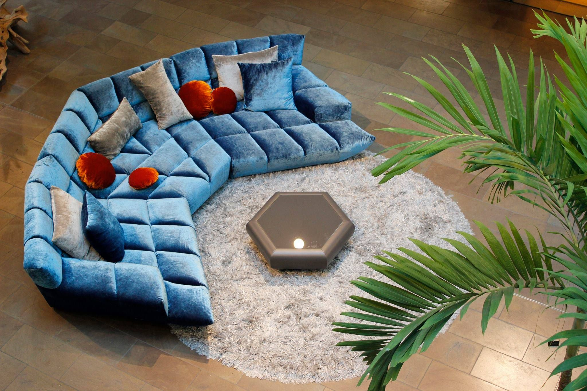 half circular cloud 7 designer lounge by bretz blue. Black Bedroom Furniture Sets. Home Design Ideas
