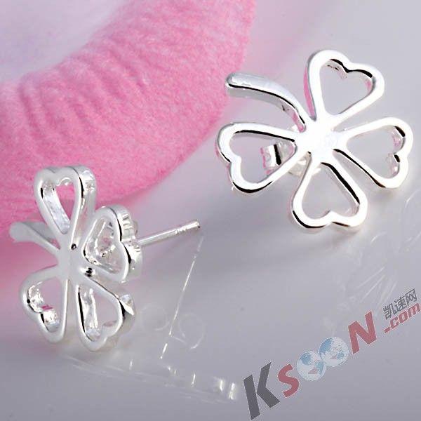 Lucky Four Leaf Clover Stud Earrings