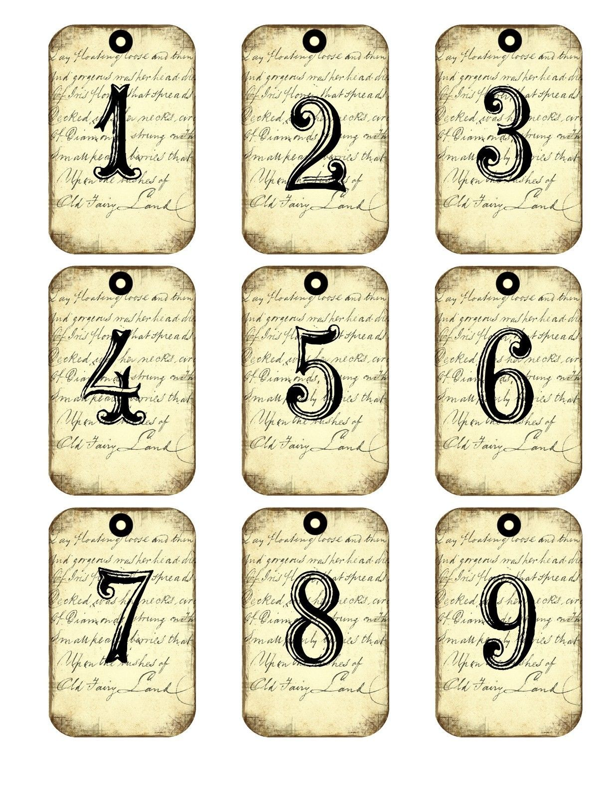 250 gsm Vintage French numbers tags x 9 each one a different design