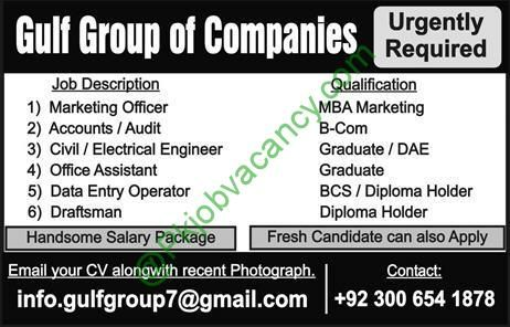 Fresh DaeMbaBComBcsGraduate Jobs In Gulf Group Of Companies