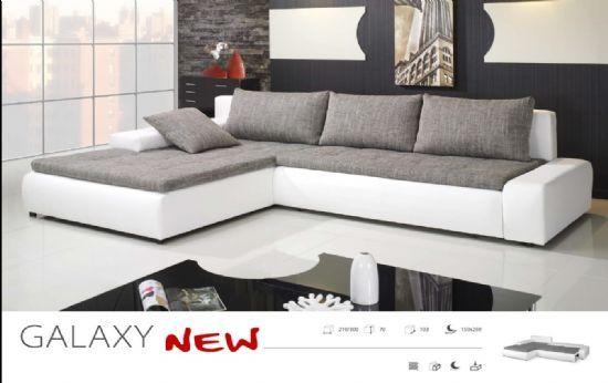 Galaxy White Gray Fabric Eco Leather Corner Sofa Bed Corner Sofa Bed Leather Corner Sofa Sofa