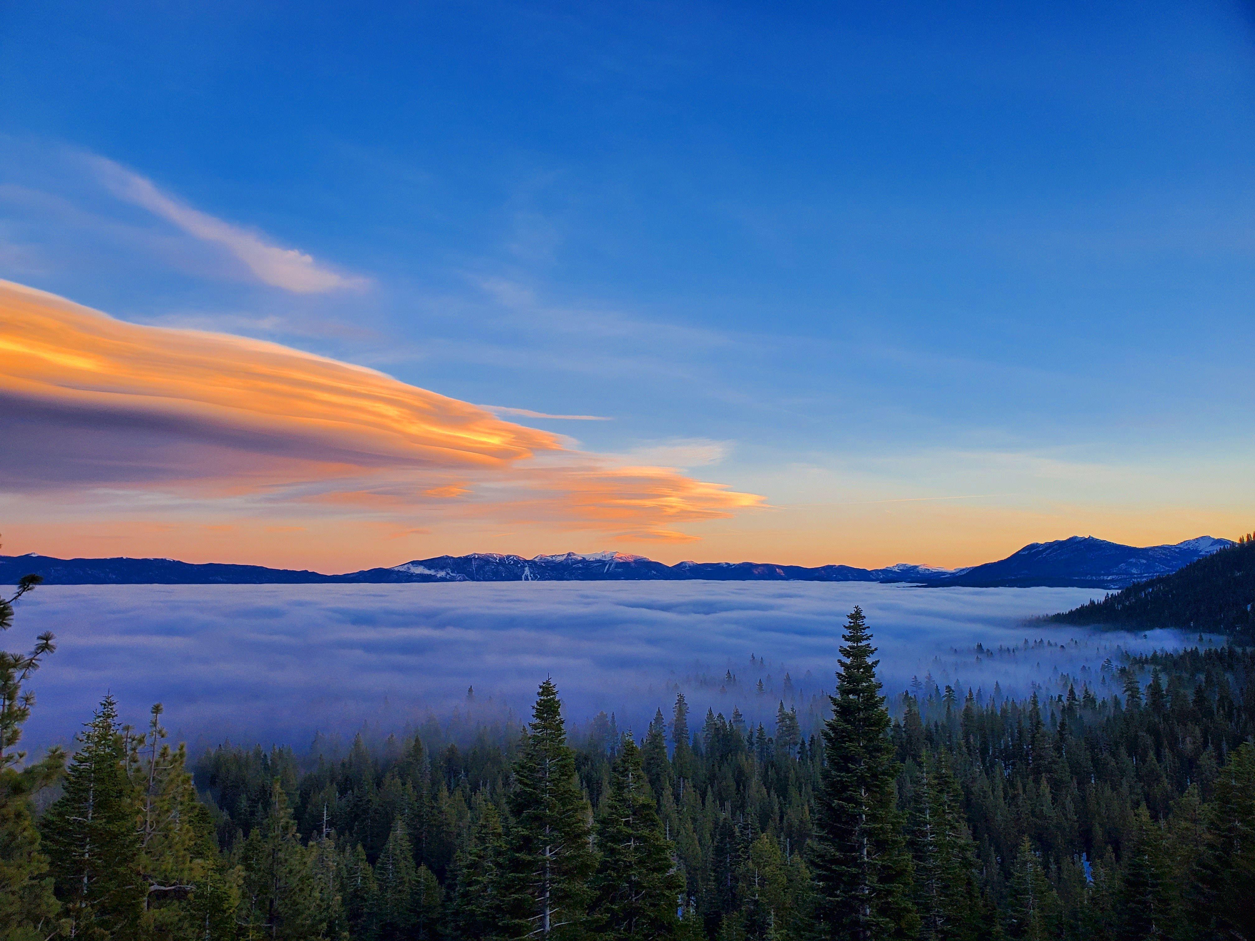 Lake tahoe blanketed in fog in 2020 tahoe city tahoe