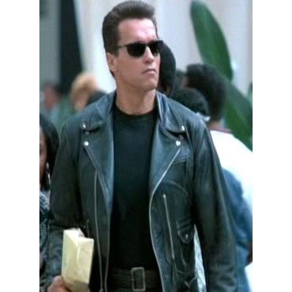 d55ad2746 Judgment Day Arnold Schwarzenegger Pure Black Geniune Leather Jacket ...