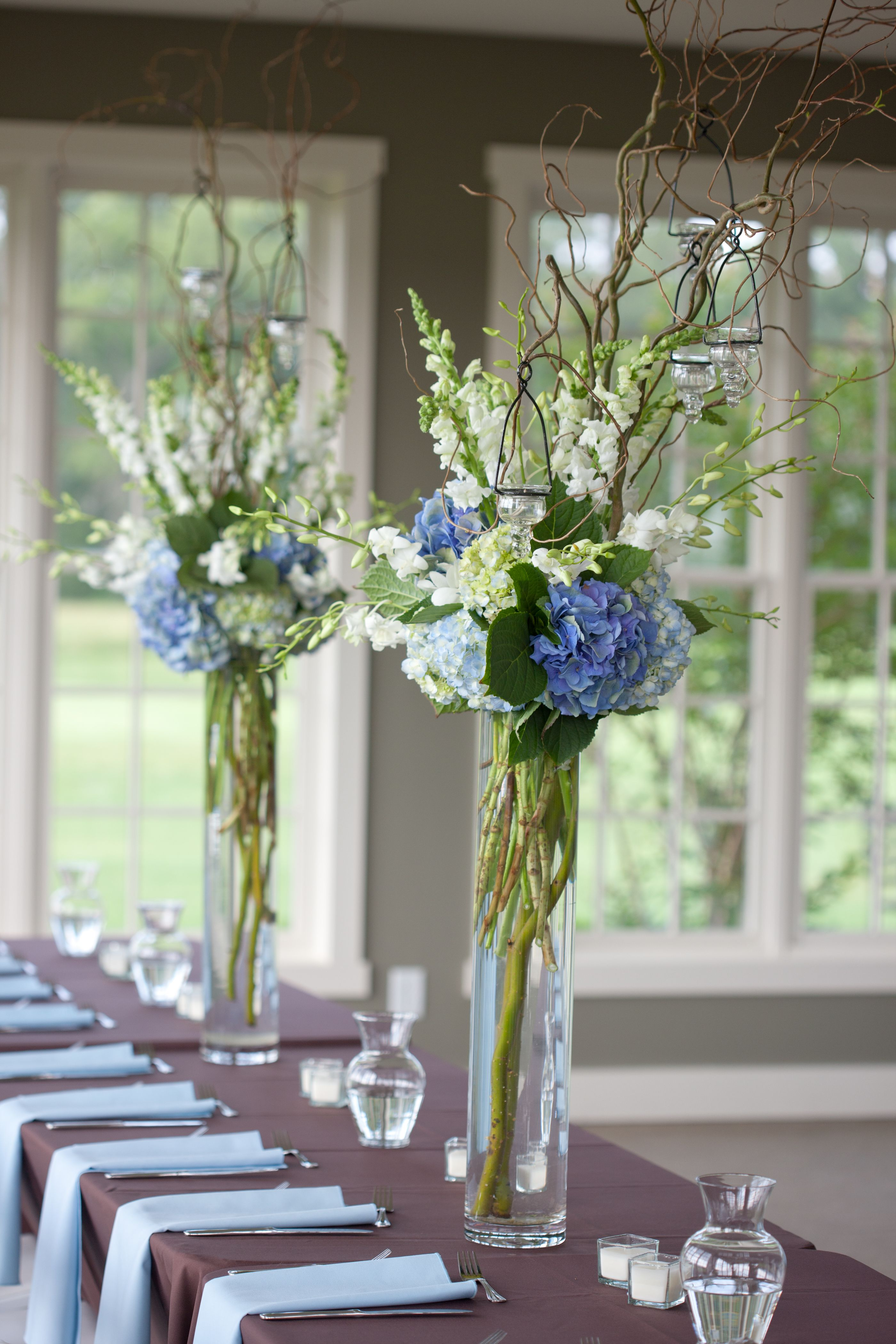 blue and white reception wedding flowers, wedding decor