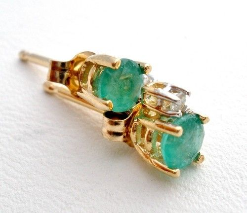 10K Yellow Gold 4 Ct Carat Emerald Diamond Estate Post Earrings Vintage | eBay