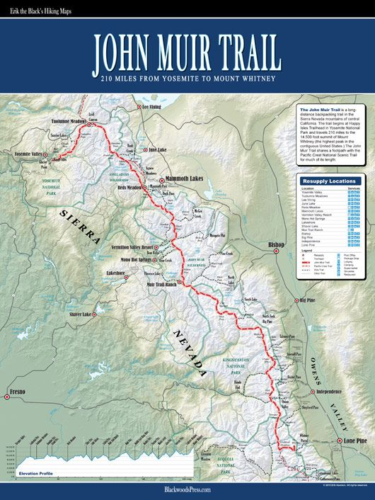 John Muir Trail Map This is an excellent wall map of the John Muir