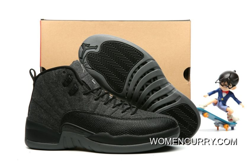 "New Air Jordan 12 ""Wool"" Dark Grey Black Metallic Silver - Release ... c973b88368c4"