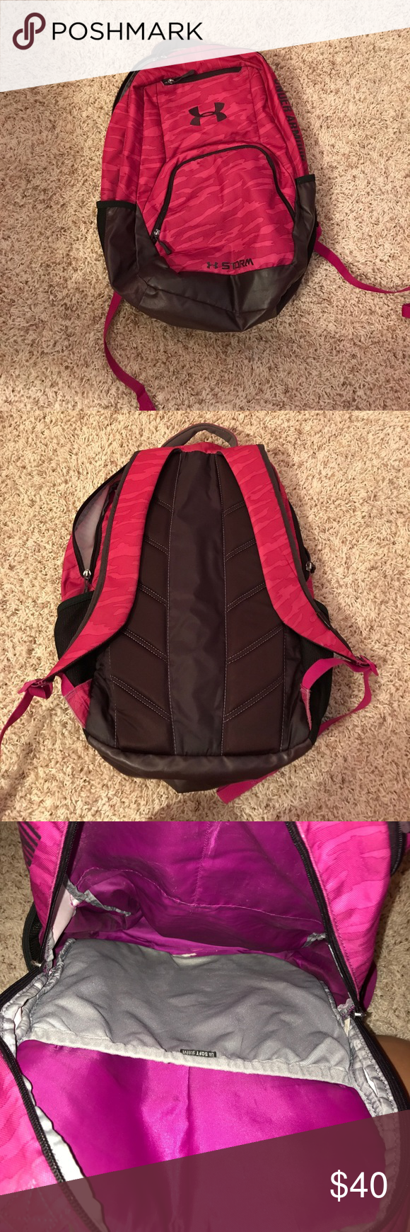 Under Armour Backpack A purple Under Armour backpack that can be used for anything. It's gently used and has a gum stain on the inside as pictured, other then that there are no major signs of wear. Willing to negotiate price Under Armour Bags Backpacks