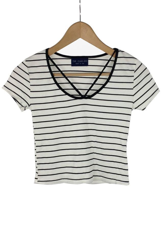 82135ec3d2d74 striped white and black crop top - cut out neck - short sleeve - made in USA