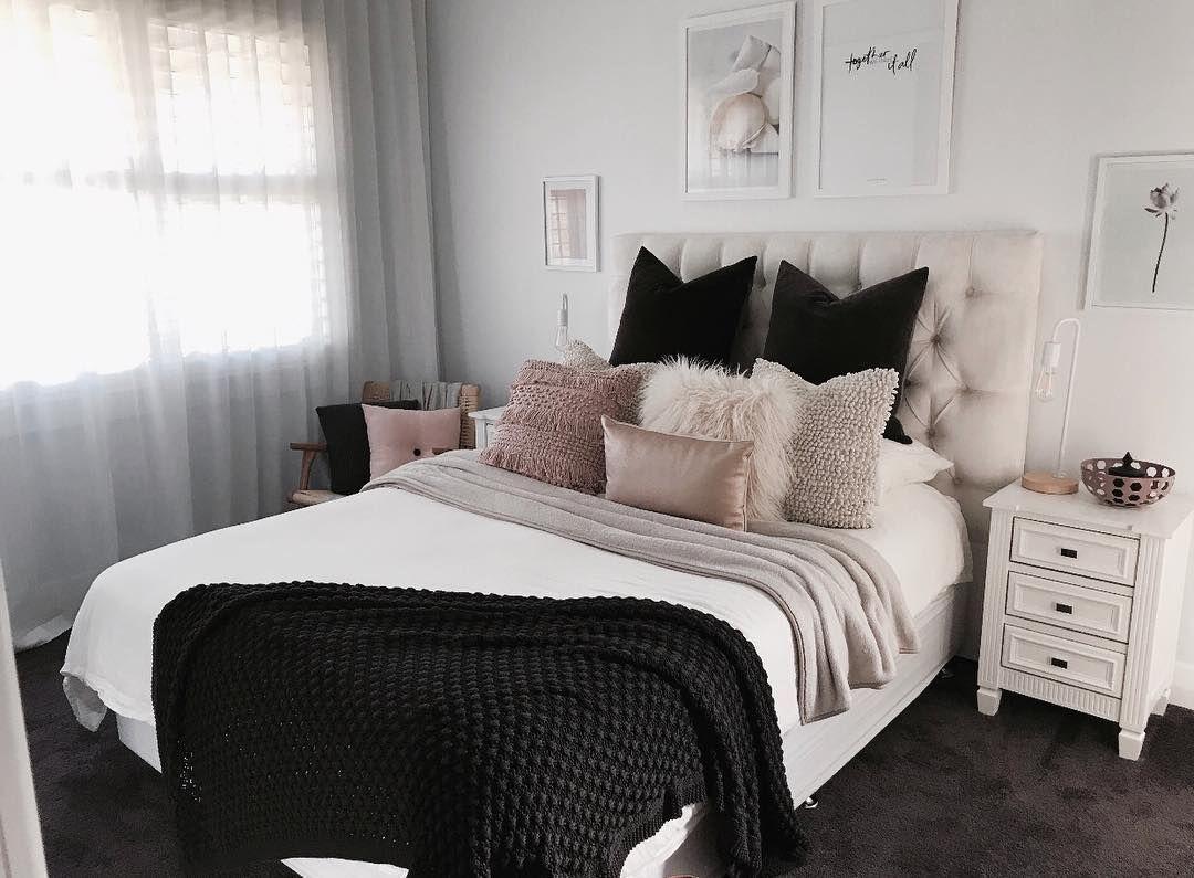 Chambre Blanc Gris Noir Rose Scandinave Nordic Avec Plaid Couverture