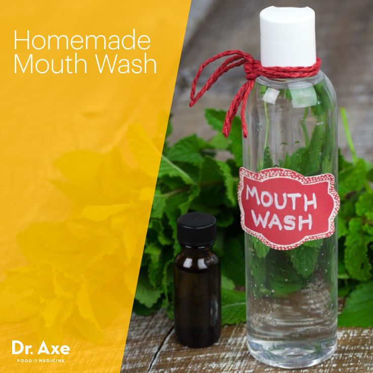 Homemade Mouth Wash - I would store it in a glass jar, not a plastic bottle : 5 drops peppermint, 5 drops tea tree, 2 cups water.