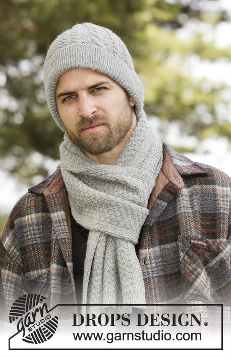 Set Consists Of Knitted Drops Men S Scarf And Hat With Cables Rib And Textur Knitting Patterns Free Scarf Scarf Knitting Patterns Mens Scarf Knitting Pattern