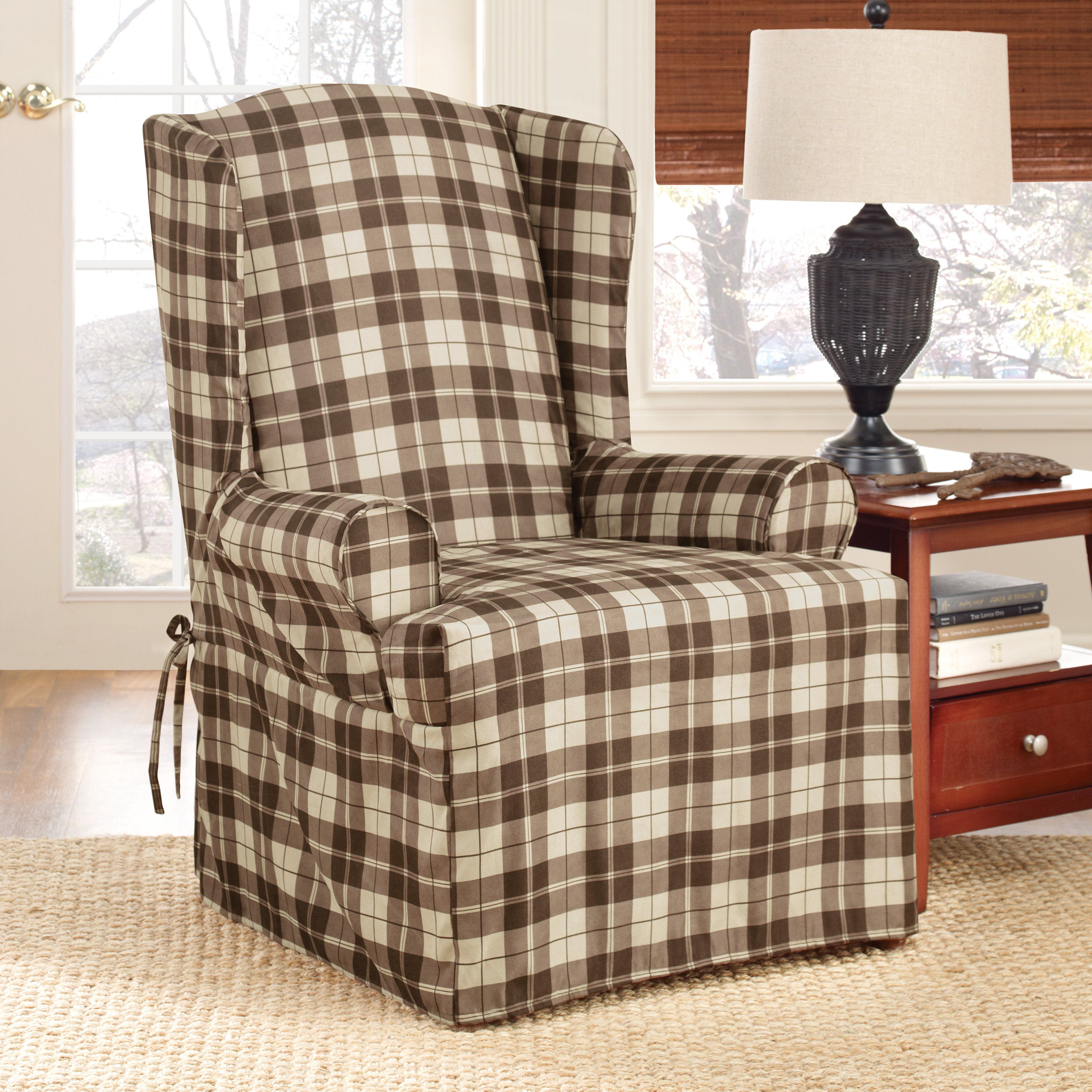 Have to have it. Sure Fit Soft Suede Plaid Wing Chair